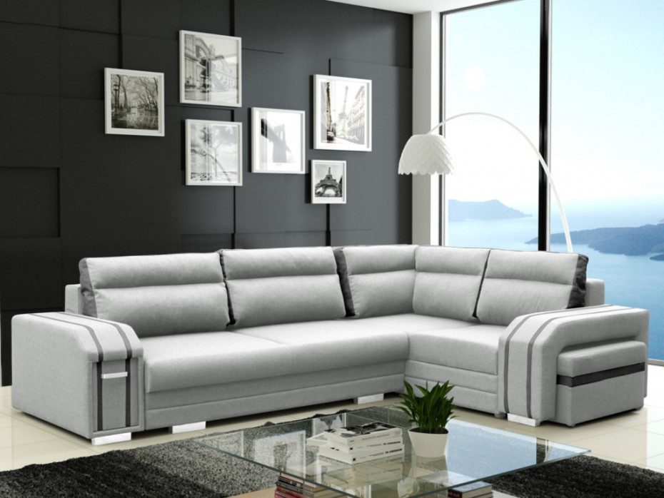 canap convertible kaiden tissu gris clair angle droit canap vente unique. Black Bedroom Furniture Sets. Home Design Ideas