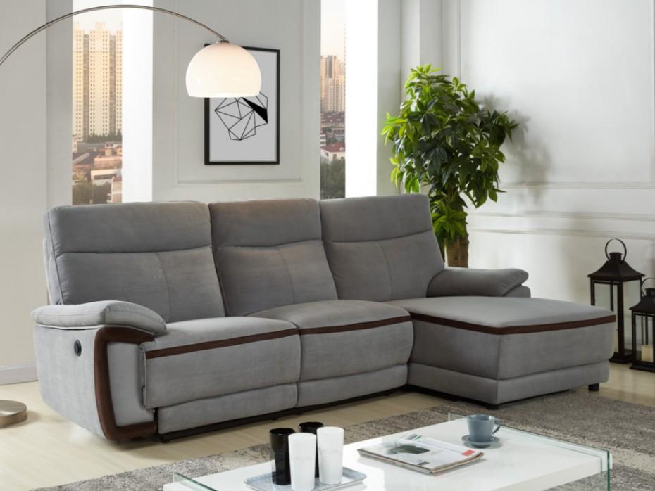 canap d 39 angle droit relax lectrique provo en tissu gris. Black Bedroom Furniture Sets. Home Design Ideas