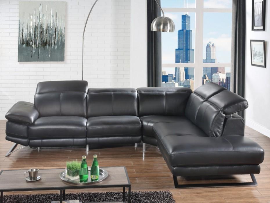 canap angle cuir relax lectrique puno noir angle droit canap vente unique. Black Bedroom Furniture Sets. Home Design Ideas