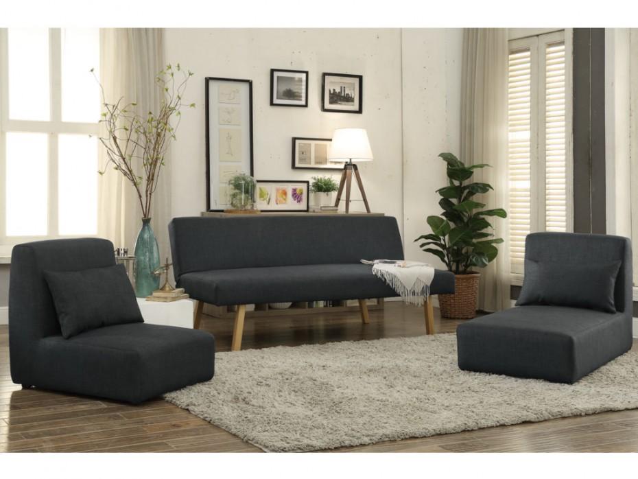 Canapé 3 places convertible et modulable SINIBA tissu gris - Vente Unique