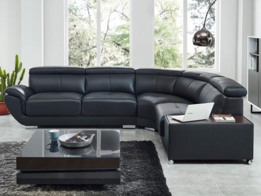Canapé d'angle droit NAHIA en cuir de vachette noir - Vente Unique