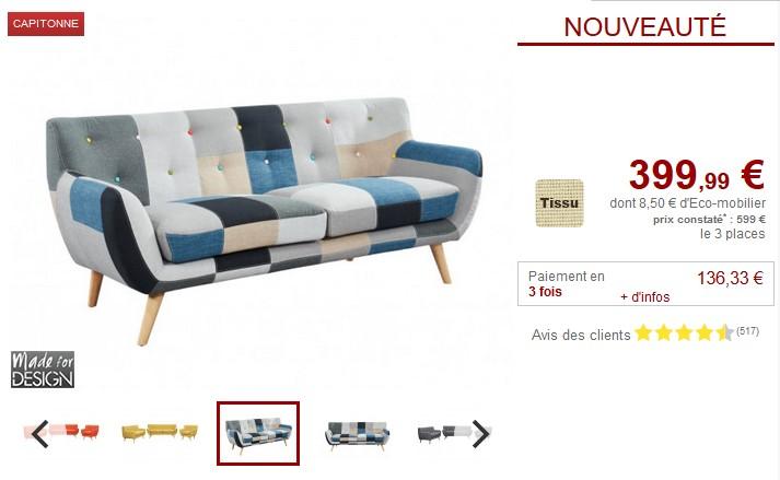 Canapé 3 places SERTI Tissu patchwork nuances noir bleu pas cher ... 4804c882cd25