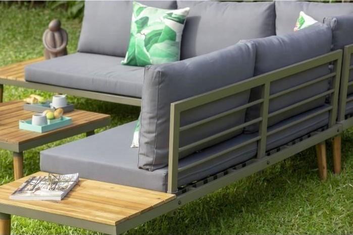 CANAS Salon de jardin 6 places en bois d\'acacia pas cher - Salon de ...