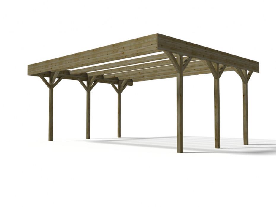 Carport double DAVOS en bois traité - Vente Unique