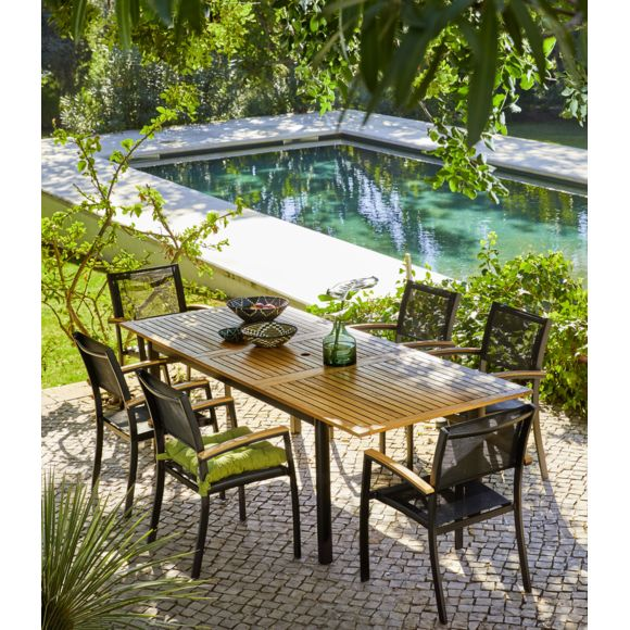 CARREFOUR Table de jardin extensible Louga pas cher - Table ...