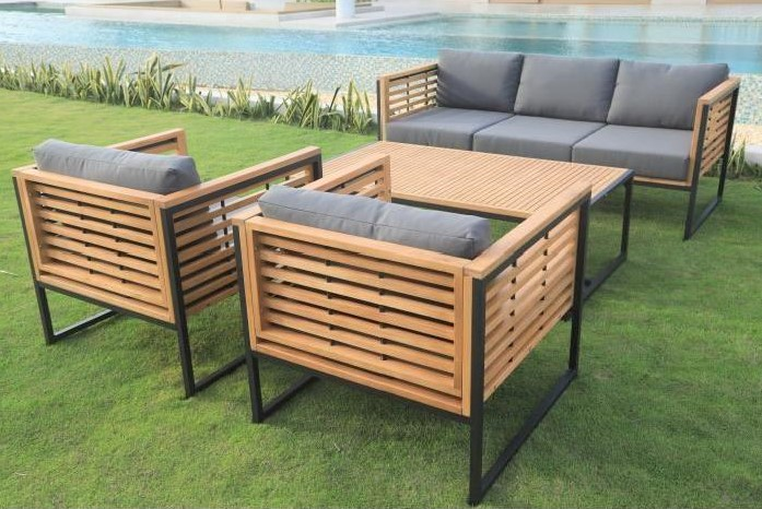 cayo salon de jardin 5 places en eucalyptus pas cher salon de jardin cdiscount. Black Bedroom Furniture Sets. Home Design Ideas