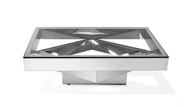 Table Basse Charlize Rectangulaire Inox Et Verre Transparent
