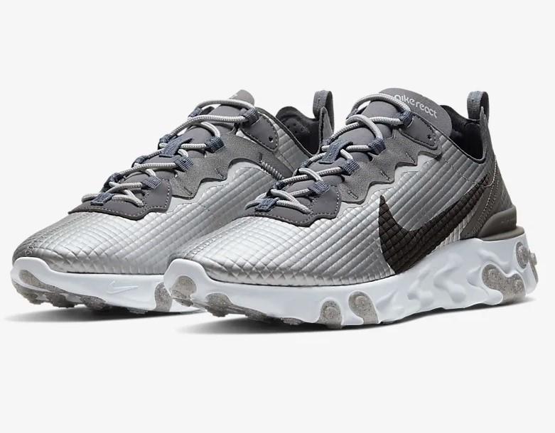 Nike React Element 55 Premium Argent métallique/Platine pur/Gris ...