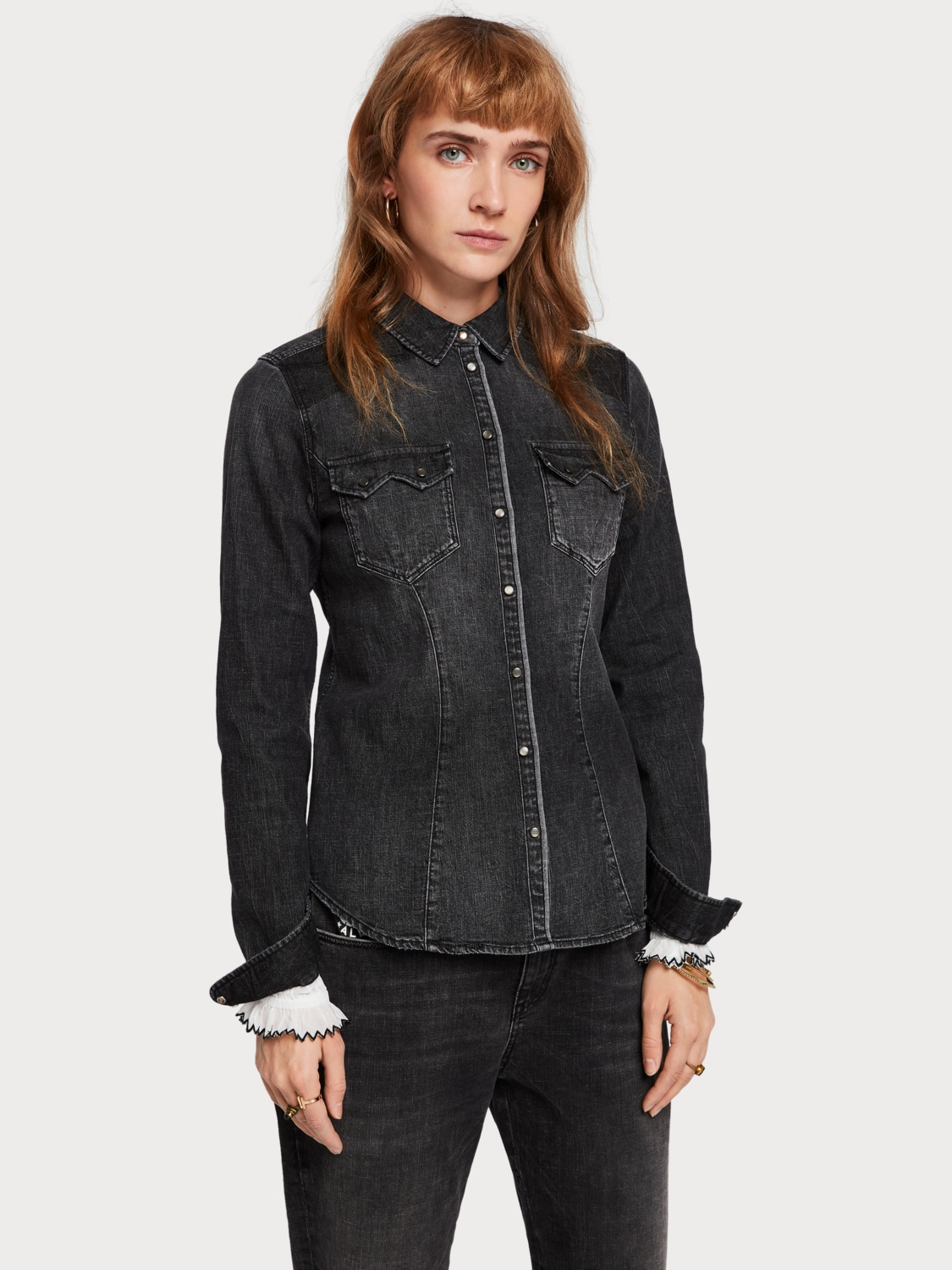 Chemise cowboy en denim Washed Black Scotch & Soda