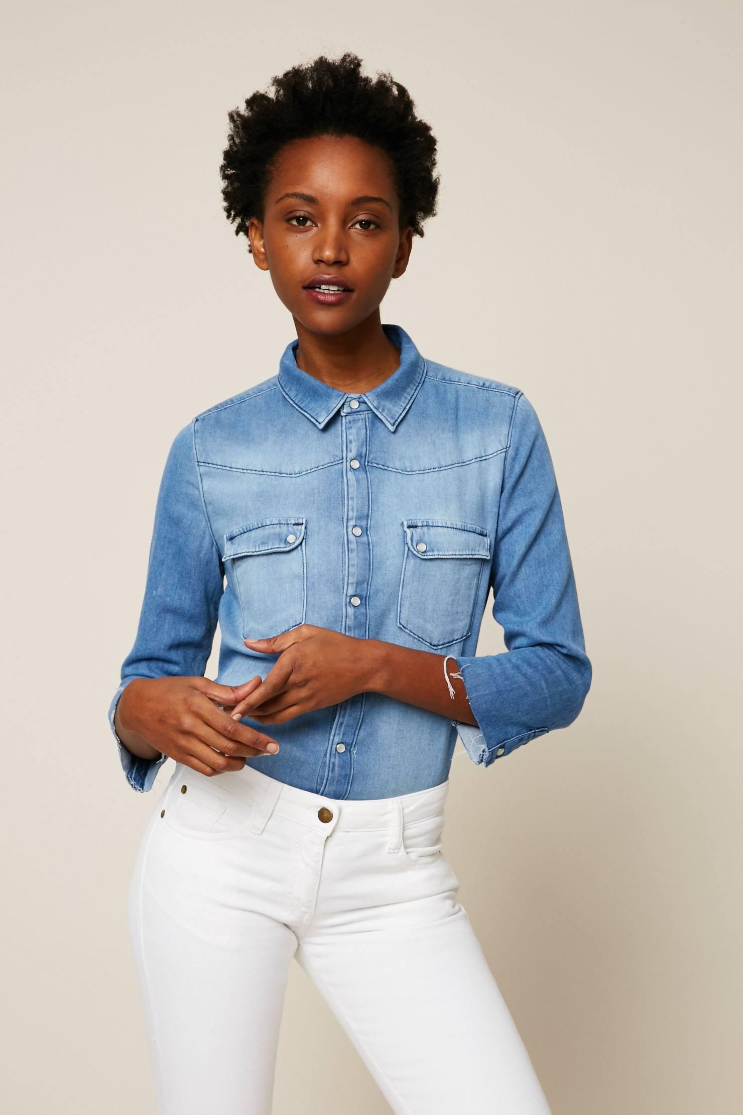 chemise femme en jean chemise en jean diesel de lilla bleu used brodee femme chemise jeans. Black Bedroom Furniture Sets. Home Design Ideas