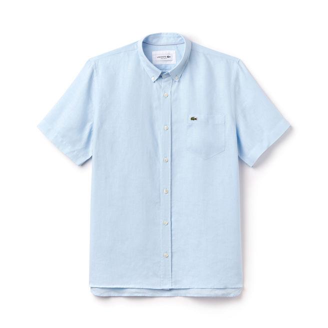 Chemise regular fit Lacoste à manches courtes en toile de lin unie