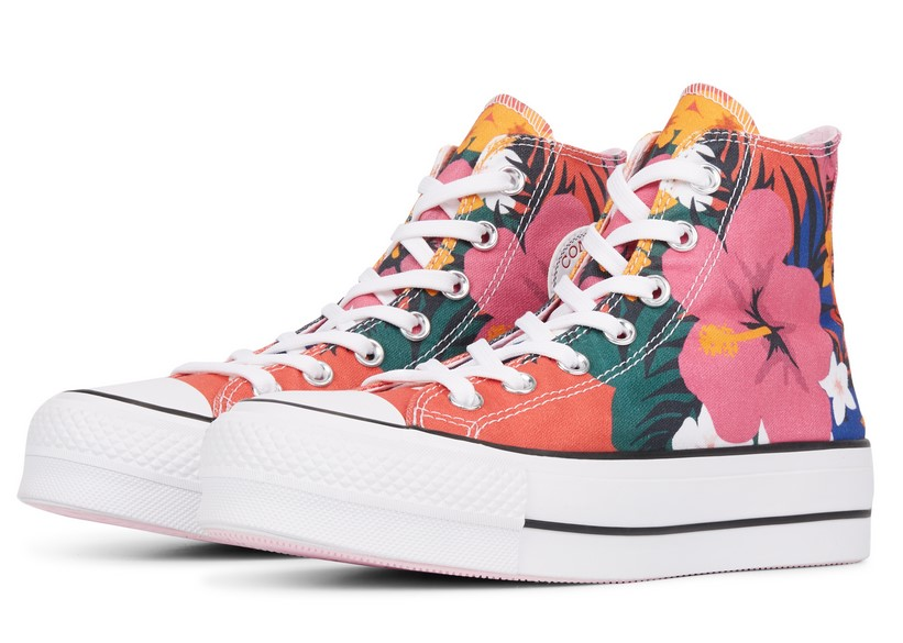 Converse Chuck Taylor All Star Paradise Prints Lift High Top strawberry jam/white/black / Style pour Femme