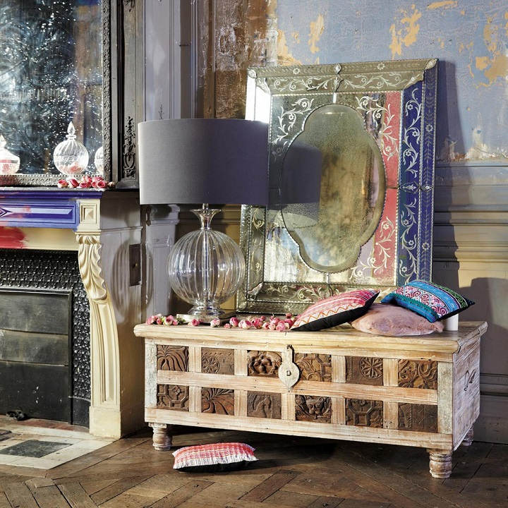 coffre indien en bois recycl karma coffre maisons du. Black Bedroom Furniture Sets. Home Design Ideas