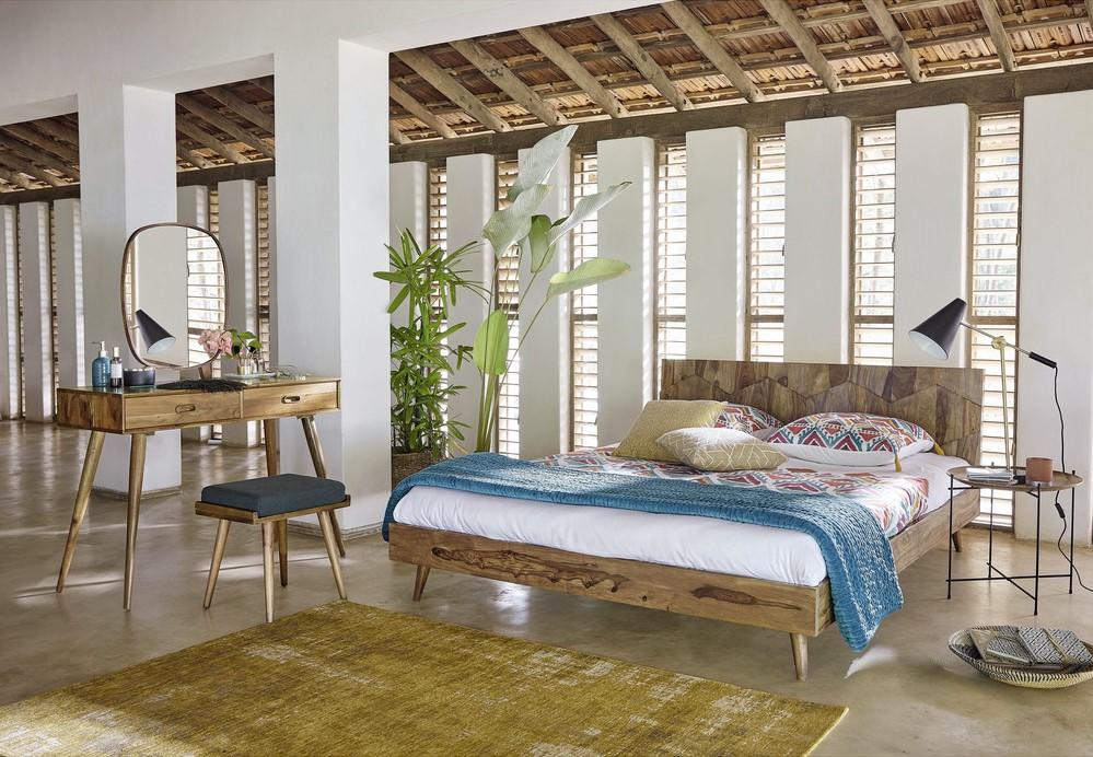 coiffeuse vintage 2 tiroirs yucca en acacia massif maisons du monde