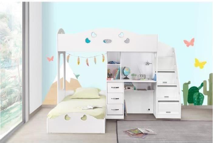 Combi lit combiné avec deux couchages superposés pas cher lit