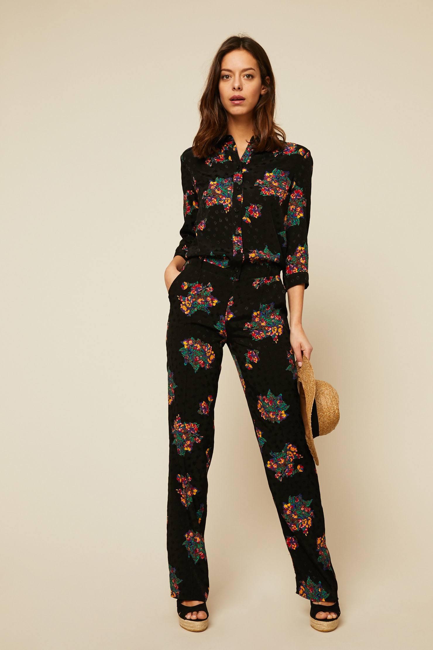 pantalon à lien à Ba col taille tailleur amp;sh la noire Chloé Combi et BwSgUq