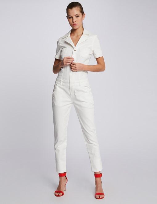 Combinaison-pantalon 7/8 en denim uni Ecru Morgan