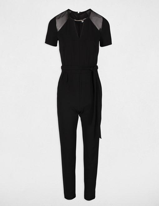 Combinaison-pantalon avec résille Noir Morgan