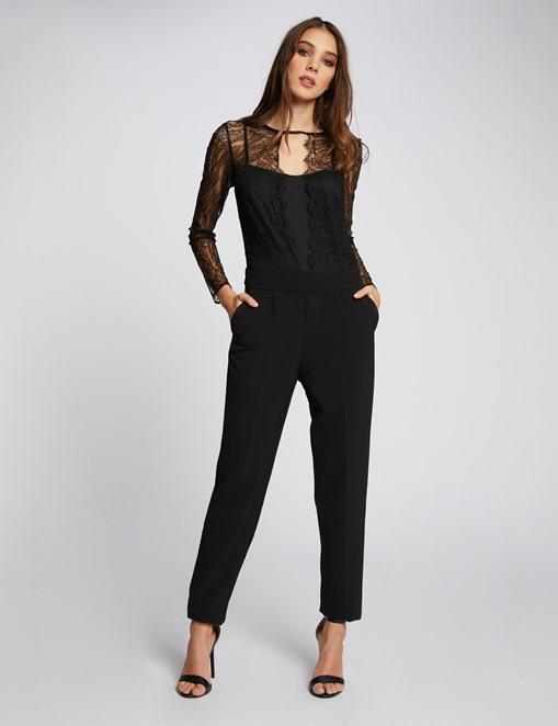 Combinaison-pantalon bimatière Noir Morgan