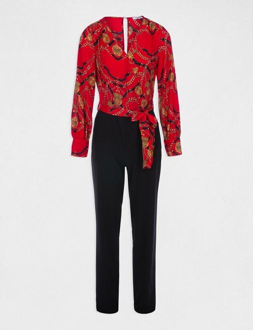 Combinaison-pantalon bimatière Rouge Morgan
