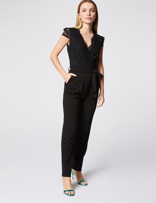 Combinaison-pantalon ceinturée bimatière Noir Morgan