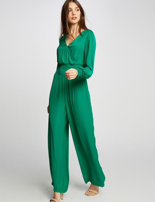 Combinaison pantalon fluide à smocks Vert Morgan