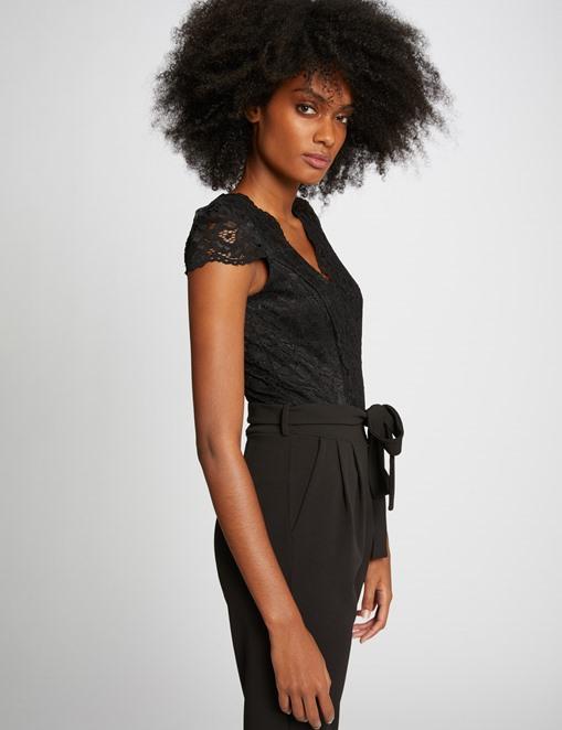 Combinaison-pantalon haut en dentelle Noir Morgan