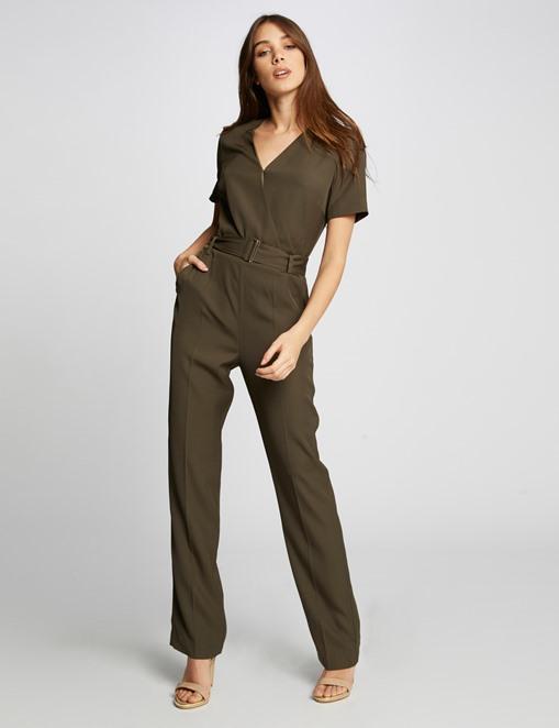 Combinaison pantalon unie ceinturée Kaki Morgan