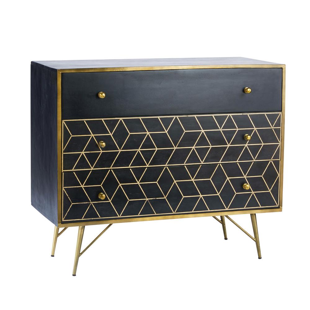Commode 3 tiroirs Jagger en manguier massif noir et métal doré - Maisons du Monde