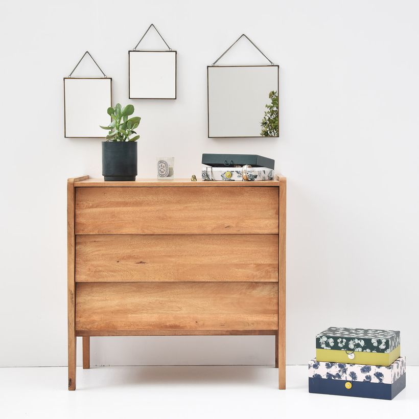 Commode en manguier 3 tiroirs Style Vintage