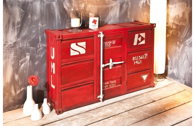 commode miliboo commode industrielle m tal rouge cargo. Black Bedroom Furniture Sets. Home Design Ideas