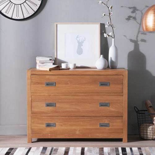Commode en bois 3 tiroirs Sur Iziva - Iziva.com