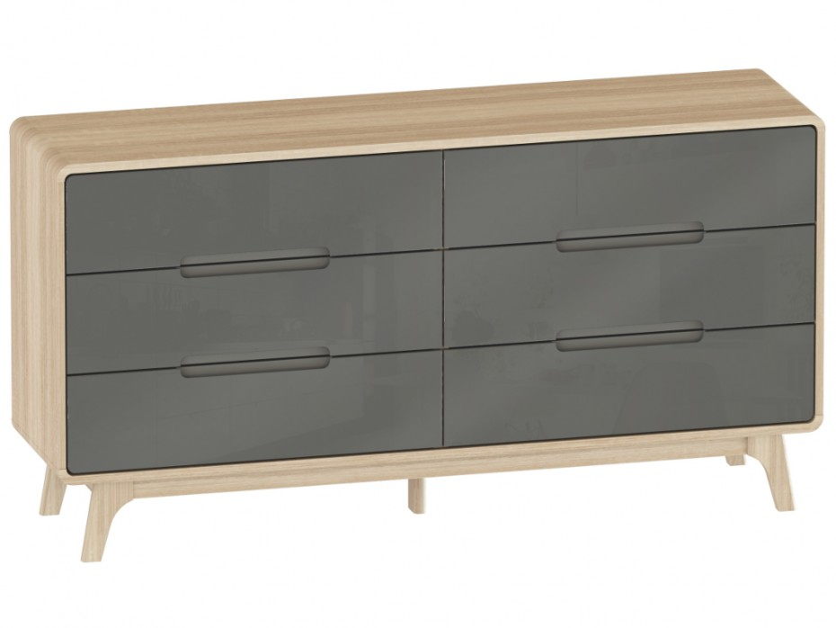 commode elin 6 tiroirs ch ne et gris style scandinave commode vente unique. Black Bedroom Furniture Sets. Home Design Ideas