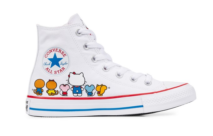 Kitty Femme Whiteprism Converse Star Baskets Hello All X Chuck Taylor Pinkwhite j435ARL
