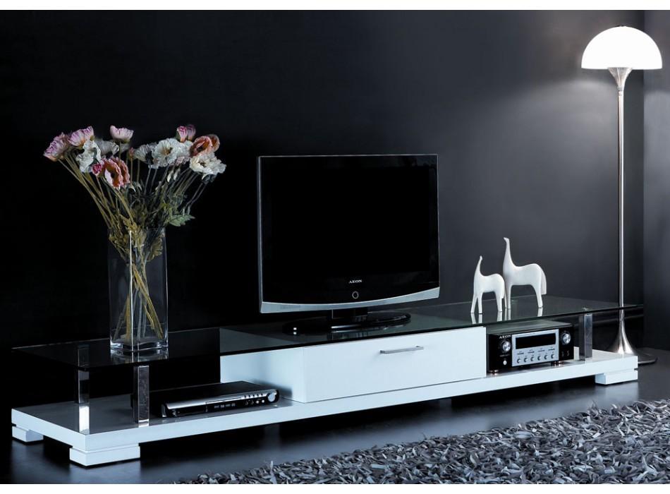 Meuble TV Vente Unique - Meuble TV CRISTO laqué blanc Prix ...