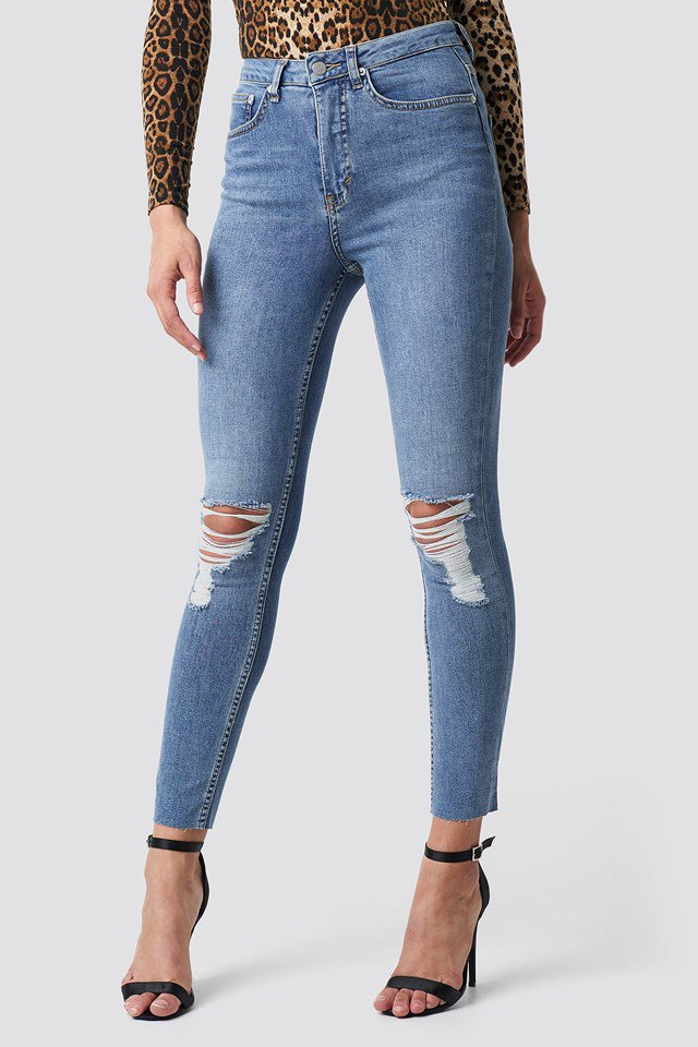 Destroyed Knee Raw Hem Jeans NA-KD Trend Blue