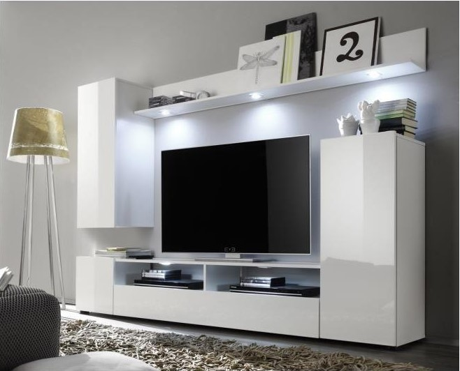 taille 40 f7185 d75e3 DOS Meuble TV mural contemporain blanc brillant