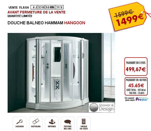 Vente Flash Douche Balnéo Hammam HANGOON 1 499 Euros Vente Unique