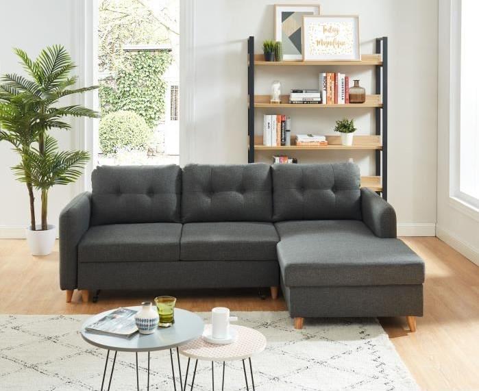 elis canap d 39 angle droit convertible 4 places scandinave. Black Bedroom Furniture Sets. Home Design Ideas