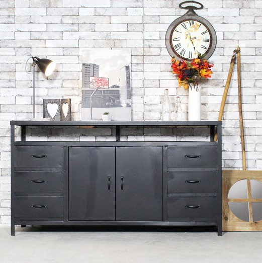 enfilade industrielle m tal et bois made in meubles buffet conforama. Black Bedroom Furniture Sets. Home Design Ideas