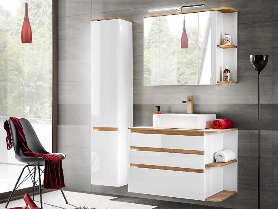Ensemble ANIDA Meubles de salle de bain bois et blanc