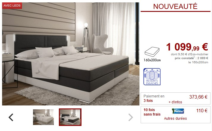 Ensemble boxspring complet ASTI - Vente Unique
