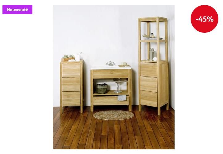 ensemble de salle de bain 4 l ments bali en teck massif meuble salle de bain auchan. Black Bedroom Furniture Sets. Home Design Ideas