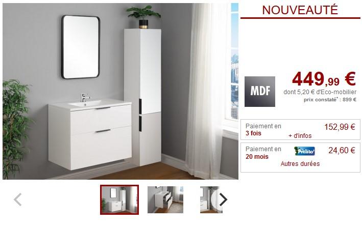 Ensemble MAEVA Meubles de salle de bain blanc brillant pas cher ...