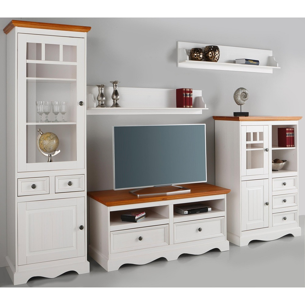 ensemble 5 pi ces salon m lissa vitrine 2 tag res meuble tv buffet meubles 3 suisses. Black Bedroom Furniture Sets. Home Design Ideas