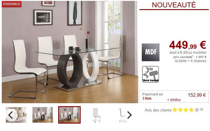 Table Et Cher En Blanc Vente Gris Manger Chaises Verre4 Pas À Ensemble Ayane Unique uFJlcK1T3