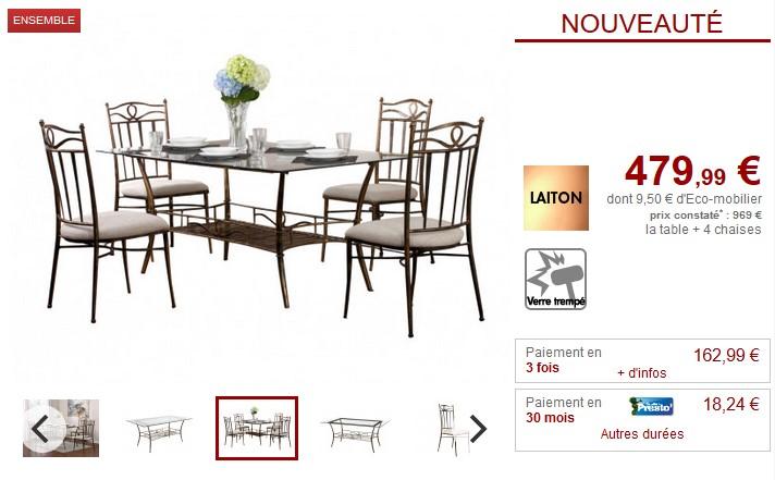 Ensemble table + 4 chaises PROVENCIA Métal fer forgé - Vente Unique