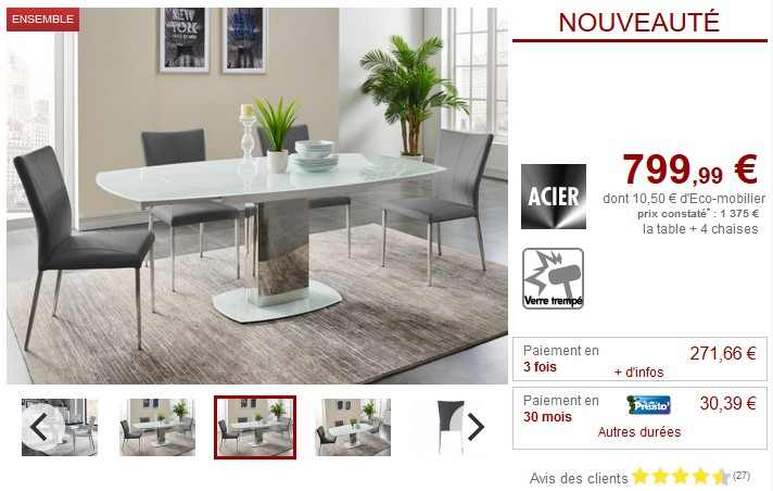 fe1e2a9c9b146 Ensemble table extensible + 4 chaises TALICIA pas cher - Table à ...