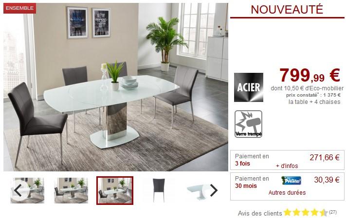 Ensemble table extensible + 4 chaises TALICIA - Vente Unique