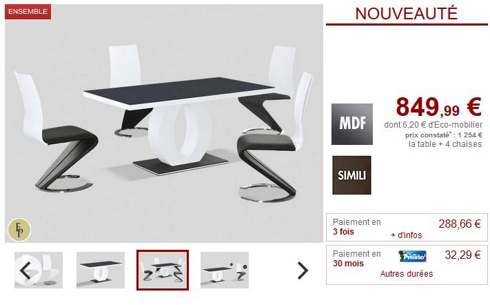 Ensemble Table + 4 chaises TWIST design Noir et blanc - Vente Unique